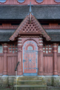 Germany, Lower Saxony, Harz, Goslar, entrance to the Gustav Adolf stave church in Hahnenklee, built 1907 - 1908, modeled on the stave church of Borgund in Norway.