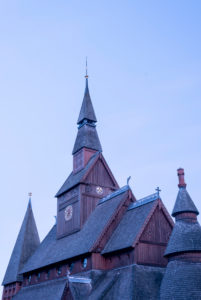 Germany, Lower Saxony, Harz, Goslar, view of the roof of the Gustav Adolf stave church in Hahnenklee, built in 1907 - 1908, modeled on the stave church of Borgund in Norway.