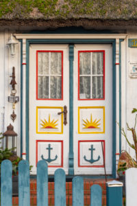 Germany, Mecklenburg-West Pomerania, Born, Darss front door, traditional, fisherman's house