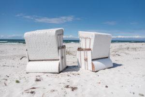White beach chairs