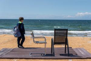 Boy, two chairs, Vitte beach, Hiddensee
