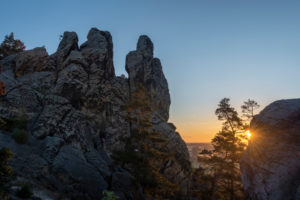 Deutschland, Sachsen-Anhalt, Timmenrode, Hamburger Wappen, Teufelsmauer, Sonnenaufgang, Harz, UNESCO Global Geopark