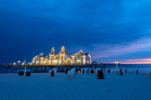 Germany, Mecklenburg-Western Pomerania, Ruegen island, Sellin, pier, blue hour