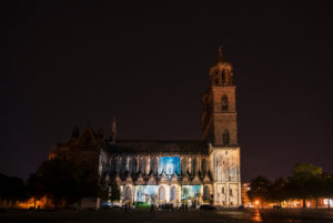 Germany, Saxony-Anhalt, Magdeburg, illuminated cathedral, Festival Magdeburg in Light, the occasion is the completion of the sacred building 500 years ago