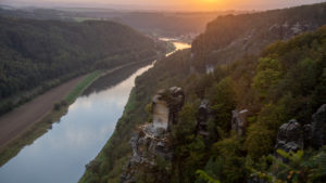 Germany, Saxony, Bastei, view over the Elbe Valley to the Elbe Sandstone Mountains, Saxon Switzerland National Park
