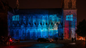 Germany, Saxony-Anhalt, Magdeburg, illuminated Magdeburg Cathedral, anniversary 500 years of completion of the cathedral, light show Magdeburg in light