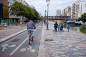 Bike path in Paris on the Canal de l'Ourcq