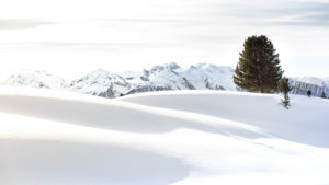 A snow-covered mountain landscape in the Tyrolean Alps