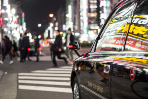 A taxi at Tokyo's nightlife
