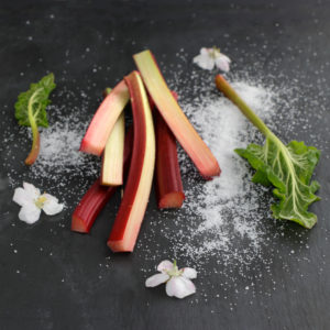 Still life with rhubarb, apple blossoms and sugar