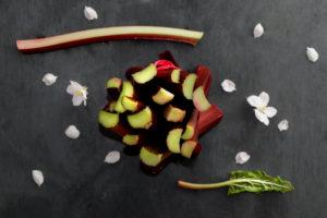 Stil Life mit Rhabarber und Apfelblüten