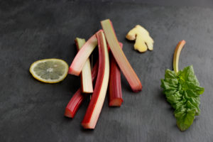 Still life with rhubarb, ginger and lemon