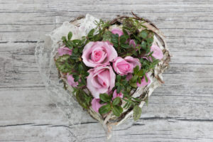 Dekoration, Herz mit Rosen, Vintage