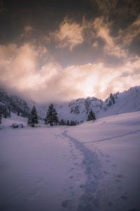 Alps, winter landscape, sunset