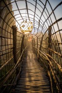 Nord-Thailand, Tempelanlage, Bambusbrücke