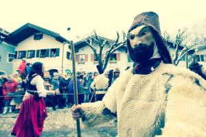 Germany, Bavaria, Mittenwald, carnival procession, costumes, masks, 'Bärentreiber'