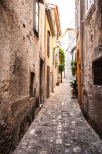 Island of Krk, Croatia, alley, old stone houses