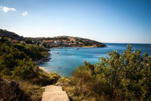 Krk, Kroatien, Adria, Blick aufs Meer in der Abendsonne
