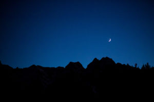Silhouette of Kramerspitz Peak, Garmisch-Partenkirchen, moon crescent