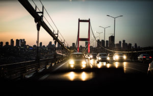 Bosphorus Bridge, Istanbul, Turkey, dusk, cars and traffic