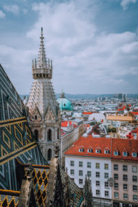 St. Stephen's Cathedral above view over roofs of Vienna, Austria.