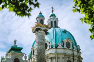 St. Charles Church Cathedral on Karlsplatz in Old city center in Vienna, Austria. Wien in Europe.