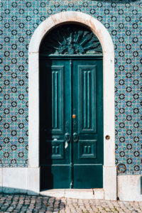 detail of portuguese architecture in Lisbon: Old tradition colorful door of the house in Lissabon, Lisboa Portugal.