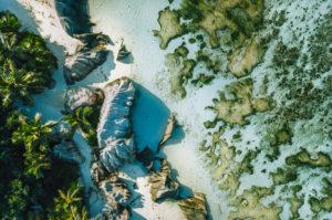 Seychelles, La Digue top down aerial view of tropical beach Anse Source d'Argent.