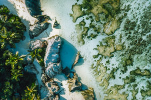 Seychelles, La Digue top down aerial view of tropical beach Anse Source d'Argent.
