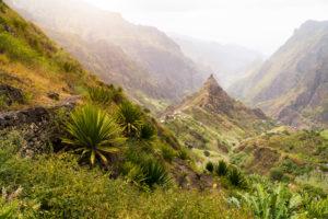 Santa Antao terrain at Cape Verde island. Mountain peaks of Xo-Xo valley with many local cultivated plantation near local village.