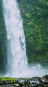 Amazing Nungnung waterfall close up, Bali Indonesia