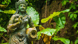 Traditional Balinese stone sculpture art and culture at Bali, Indonesia.