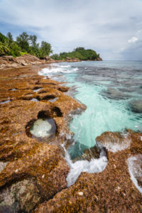 Old reef coastline and ocean waves on tropical Police Bay beach on Mahe Island, Seychelles.