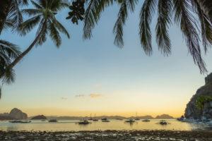 Sunset at Corong corong beach. El Nido, Philippines.