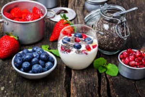 Yogurt with berries and chia seeds, superfood