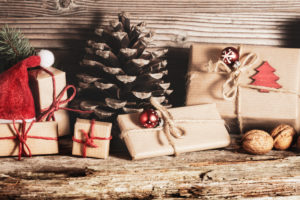 Christmas decoration and gifts on wood