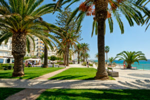 Armacao de Pera promenade, lawns and palm trees