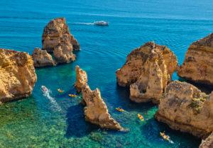 Ponta da Piedade rock formations, near Lagos, Algarve, Portugal