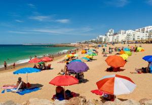 Quarteira beach in summer, the Algarve, Portugal