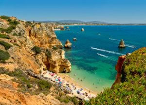Praia do Camilo, Lagos, the Algarve, in summer