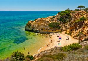 A small cove at Olhos de Agua, the Algarve, Portugal
