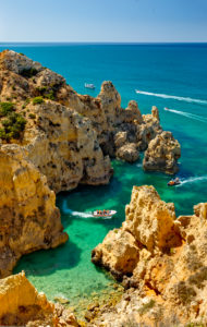 A small inlet near Lagos, the Algarve, with tourist boat trips