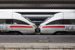 two opposite ICE railcars,