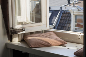 Pillows on windowsill in Amsterdam