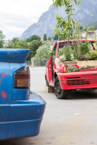Urban gardening, old cars in which it blooms and grows.