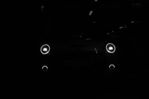 Headlights of the electric Mini Cooper SE