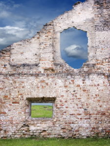 "Lithuania, Vilnius, ruin, house-wall, detail, window-caves, meadow, cloud-heavens, [M], residence, house, ruin, wall, brick-wall, old, remains, window-openings, destruction, decay, human-empty, leaves transience view, view, nobody oblivion, past, outside ""scenery"", nature, heavens, clouds, BT,"