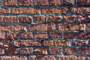 Old red brick wall, close-up, detail,