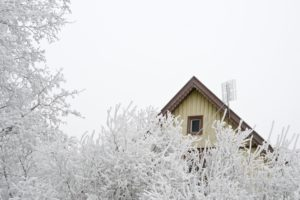 House, trees, winter, gable,