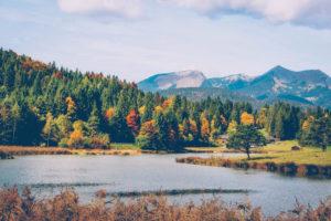 Lake, mountains, autumn forest